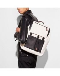 COACH Blue Manhattan Backpack In Mixed Leathers for men