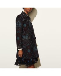 COACH   Blue Studded Tapestry Coat   Lyst