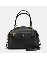 COACH | Black Prairie Satchel In Polished Pebble Leather | Lyst