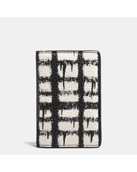 COACH   Black Card Wallet In Wild Plaid Print Pebble Leather for Men   Lyst