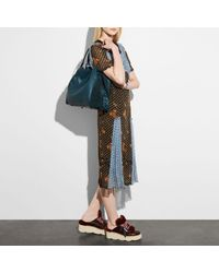 COACH Blue Edie Shoulder Bag 42 In Mixed Leathers With Star Rivets