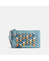 COACH Blue Turnlock Wristlet 21 With Colorblock Link
