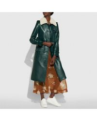 COACH Green Leather Trench Coat
