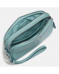 COACH Blue Crossbody Clutch In Polished Pebble Leather