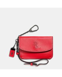 COACH - Red Mickey Envelope Key Pouch In Glovetanned Leather - Lyst