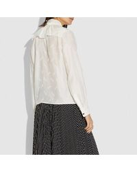 COACH Multicolor Horse And Carriage Jacquard Gathered Collar Blouse