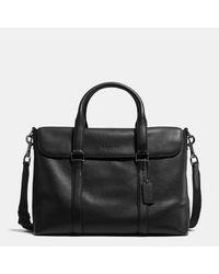 COACH Black Metropolitan Messenger In Pebble Leather for men