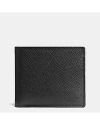 COACH | Black Compact Id Wallet In Crossgrain Leather | Lyst