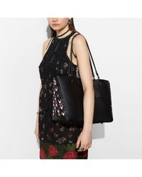 COACH Multicolor Rogue Tote With Exotic Link Leather Detail