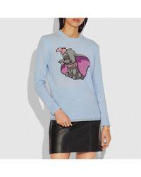 COACH Blue Disney X Dumbo Intarsia Sweater