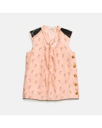 COACH Pink Penguin Print Tie Neck Blouse