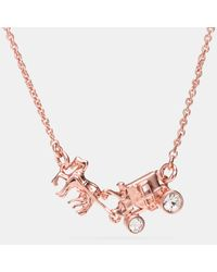 COACH | Multicolor Pave Horse And Carriage Necklace | Lyst
