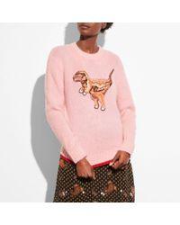 COACH Pink Rexy Crewneck Sweater