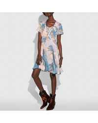 COACH Blue Dreamy Floral Print Pleated Dress