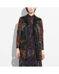 af1cce688d Women's Black Patchwork Western Rivets Coat