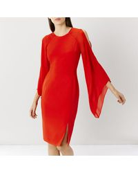 Coast | Red Angelica Drape Detail Dress | Lyst