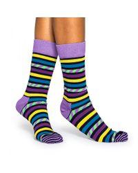 Happy Socks - Purple Stripes And Stripes Socks for Men - Lyst
