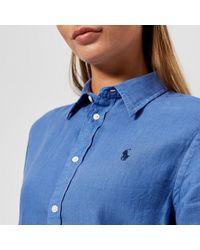 Polo Ralph Lauren Blue Women's Logo Linen Shirt
