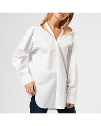 T By Alexander Wang - White Women's Cotton Poplin Shirt With Neck Twill Tape Detail - Lyst