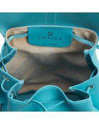 Grafea Blue Sky Medium Leather Rucksack for men
