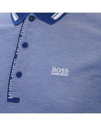 BOSS Green | Blue Men's Paule4 Collar Detail Polo for Men | Lyst