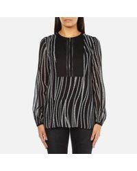 Karl Lagerfeld | Black Women's Soft Blouse With Zipper Detail | Lyst