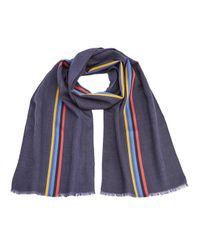 Paul Smith | Black Men's Central Stripe Wool Scarf for Men | Lyst