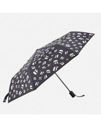 Karl Lagerfeld Black Women's K/ikonik Faces Umbrella