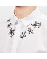 Neil Barrett White Collar Flower Shirt for men