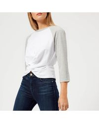 T By Alexander Wang White High Twist 3/4 Sleeve Twist Front Top