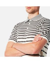 PS by Paul Smith Gray Men's Short Sleeve Knitted Striped Polo Shirt for men