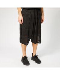 Y-3 Black Patchwork Mesh Shorts for men