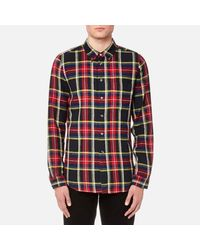 PS by Paul Smith Blue Men's Checked Long Sleeve Shirt for men