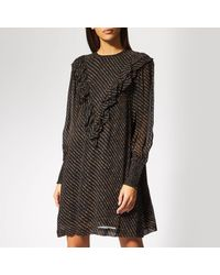 Ganni Black Mullin Georgette Mini Dress