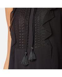 MICHAEL Michael Kors - Black Women's Tank Lace Bib Top With Tie - Lyst