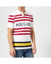 Polo Ralph Lauren White Regatta Us Polo Stripe Short Sleeve Polo Shirt for men