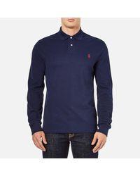 Polo Ralph Lauren Blue Men's Slim Fit Long Sleeved Polo Shirt for men