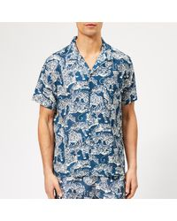 YMC Blue Tiger Print Shirt for men