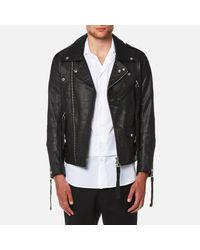 Matthew Miller Black Tyler Goat Leather Biker Jacket for men