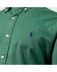 Polo Ralph Lauren Green Garment Dye Twill Long Sleeve Shirt for men