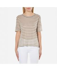 T By Alexander Wang - Multicolor Women's Rayon Linen Stripe Short Sleeve Cropped Tshirt - Lyst