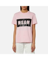 MSGM Pink Women's Logo Detail Tshirt