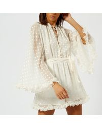 23ac6c57ee Lyst - Zimmermann Women s Golden Crinkle Playsuit in White