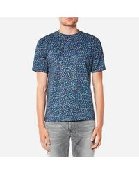 PS by Paul Smith Blue Men's Regular Fit Marble Print Tshirt for men