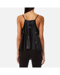 T By Alexander Wang Printed Silk-satin Camisole Black