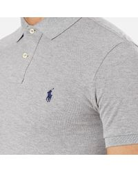 Polo Ralph Lauren Gray Slim Fit Short Sleeved Polo Shirt for men