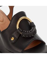 See By Chloé Black Leather Wedged Sandals