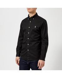 Polo Ralph Lauren Black Men's Garment Dye Twill Long Sleeve Shirt for men