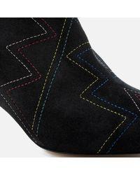 Isabel Marant Black Dyna Suede Fold Over Heeled Boots