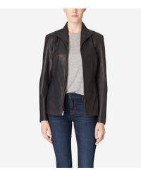 Cole Haan | Black Italian Leather Wing Collar Jacket | Lyst